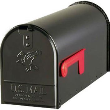 Gibraltar® E1100B00 Elite Post Mount Rural Mailbox, Standard Size T1, Black