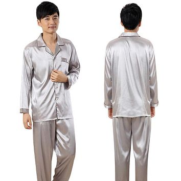 Men Sleepwears Faux Silk Pajamas Male Homewear Men Nightgowns Satin Pajamas Sets 2 Pcs