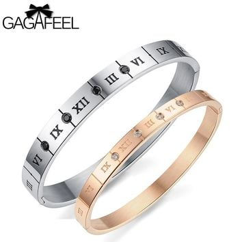 Gagafeel Roman Numeral Couple Bracelets Titanium Steel Bracelet For Men custom Engraved Bangles For Valentine's Day