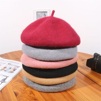 Top Brand Women's Cotton Berets Caps Winter Girls Ladies Wool Warm Hats Felt Beret Hat Soft Comfortable Casquette For Autumn