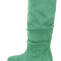 Green Slouchy Mid Calf Casual Boots Faux Suede