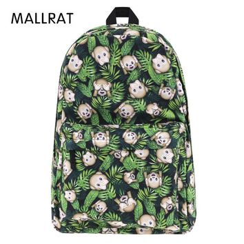 MALLRAT School Bags for Teenage Girls Backpack Women Funny Monkeys Weed Print New Mochila Bookbag Sac a Dos Canvas Backpacks