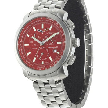 Corvette AKCR6-101 Mens Watch Red Dial Chronograph Swiss Movt Silver Band