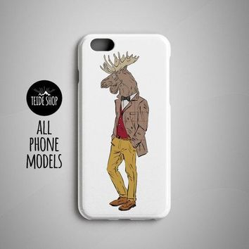 Moose iPhone 8 Plus Case iPhone 8 Case iPhone 7 Case iPhone 6S Case iPhone 5S Case iPhone 7 Plus Case iPhone SE Hipster Animal Painting Art