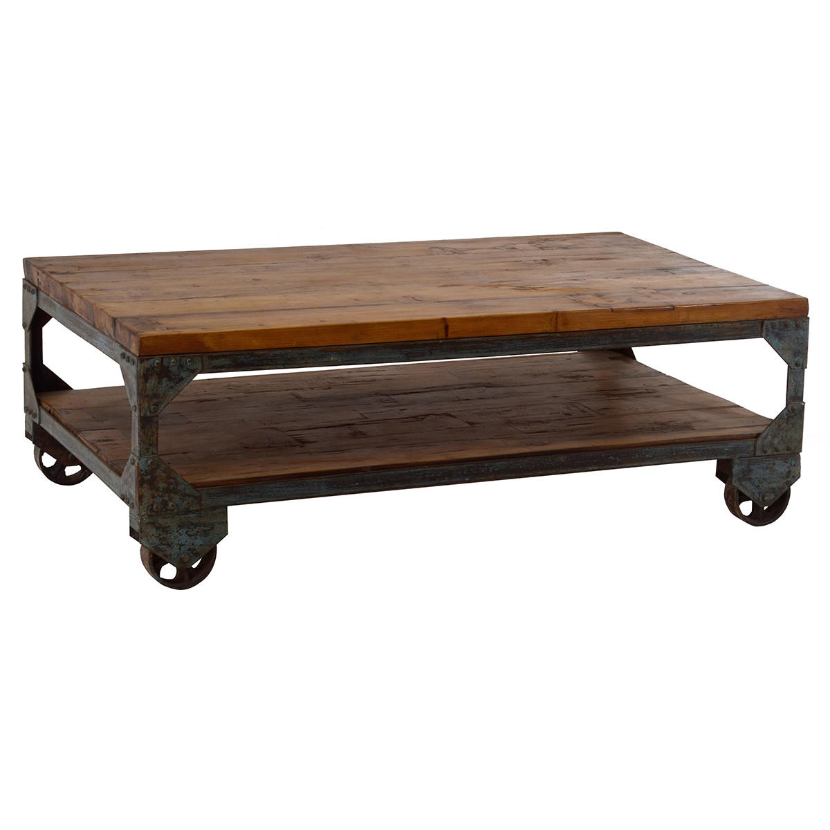 Iron wood coffee table on wheels from wrightwood furniture for Coffee tables on wheels