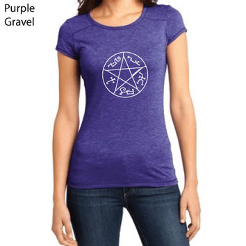 Supernatural Inspired Clothing - Devil's Trap Symbol Gravel Crew-Neck Tee - Ladies