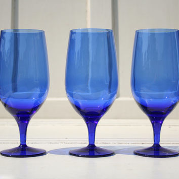 Drinks for Everyone! - Vintage Set of Three (3) Cobalt Blue, Large 19 oz. Wine Glasses