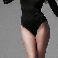 Long Sleeve Hollow Out Back High Neck Short Slim Jumpsuits