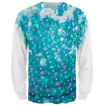 LMFCY8 Mermaids Pearls and Starfish Pattern All Over Mens Long Sleeve T Shirt