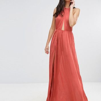 ASOS Slinky Maxi Beach Dress with Plait Strap at asos.com