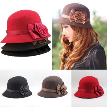 2015 New Autumn and Winter Elegant Women's Fashion Cap Ladies Flower Rose Bucket Hat Women Small Fedoras Hat Cloche Headwear = 1958006532