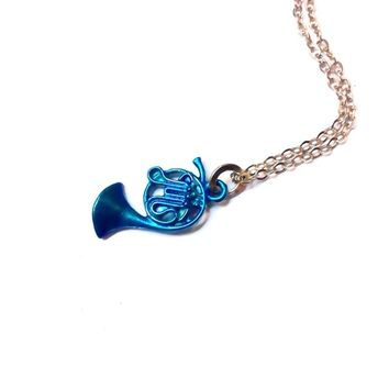How I Met Your Mother: Blue French Horn necklace, musical instrument charm, music themed jewelry