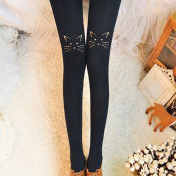 Kitty Embroidered Leggings