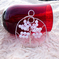 "Tree of Life Wire Wrapped Pendant, Silver with White Pearls, ""Kristine"""