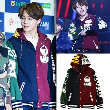 kpop BTS JIMIN baseball uniform cotton hoodie coat with hat Rap Monster JHOPE JI MIN k-pop bts Bangtan Boys