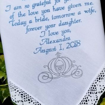 Carriage Disney Inspired Gift Handkerchief Gift for Mom Mother of the Bride Wedding Gift Cinderella Wedding Cinderella By Canyon Embroidery