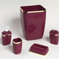 Burgundy And Gold Trimmed 5 Piece Bath Accessory Ensemble