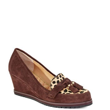 Isaac Mizrahi New York Leather Loafer-Style Wedges