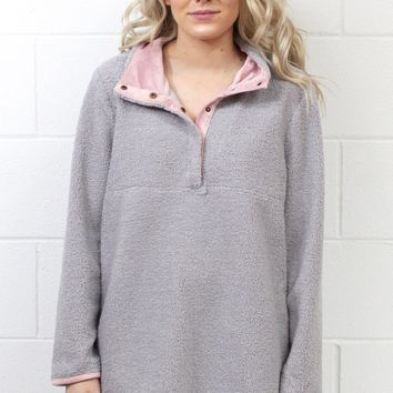 Cozy Wubby Snap Front Pullover {Grey} EXTENDED SIZES