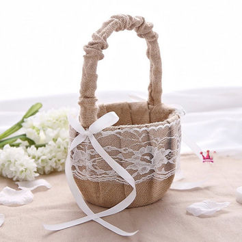 Rustic Wedding Hessian Burlap Lace Flower Girl Basket Party Favors