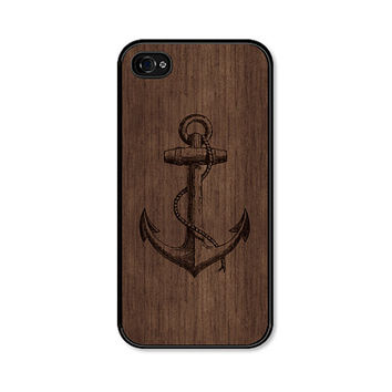 Anchor iPhone 5 Case - Anchor iPhone 5c Case - Wood Anchor Phone Case Anchor iPhone Case Brown Anchor iPhone 4s Case Nautical iPhone 5 Cover