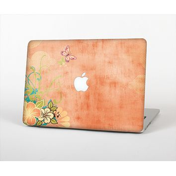 """The Vintage Coral Floral Skin Set for the Apple MacBook Pro 13"""" with Retina Display"""