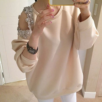 Apricot Cut Out Beaded Sweatshirt