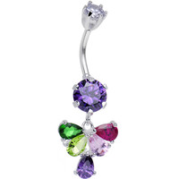 925 Sterling Silver Multi CZ Fluttering Butterfly Dangle Belly Ring | Body Candy Body Jewelry