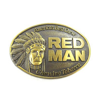 Vintage Red Man Tobacco Brass Belt Buckle