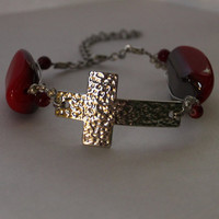 Silver Cross Bracelet // Red Beaded // Wire wrapped // Handmade // Chic // Statement // Gift // Religious jewelry // Elegant