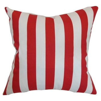 18x18 Red and White Stripe Decorative Pillow Cover - Same Fabric Both Sides