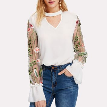 New fashion embroidery floral leaf long sleeve top shirt White