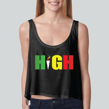 High Rasta Colors girly boxy tank top Funny and Music