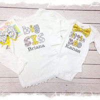 Brother Sister Matching Outfit-Big Sis Little Bro Matching Set-Sibling Matching Set-Baby Boys Bow Tie-3 PC Brother Sister Set with Name