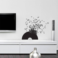 Wall Decal Vinyl Sticker Decals Art Decor Design Vinyl Record Music Songs Sound Notes Melody Live Hobby Living Room Bedroom (r279)