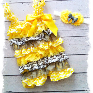 Yellow and Gray Chevron Print Petti Lace Romper 2pc Set-Birthday Petti Lace Romper-Photo Props-Cake Smash-1st Birthday PETTI ROMPER