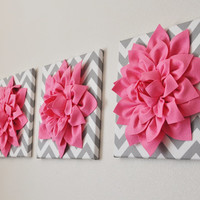 """Pink Wall Art -SET OF THREE Pink Dahlias on Gray and White Chevron 12 x12"""" Canvas Wall Art- Home Decor"""
