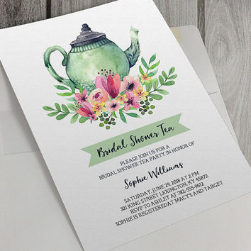 Printable Bridal Shower Invitation, Bridal Shower Tea Party, 5x7 Inch, Tea Party, Watercolor, Flowers, Personalize, Baby Girl, Baby Boy