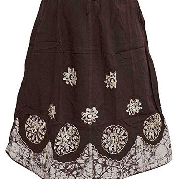 Mogul Women's Skirt Brown Batik Embroidered Hippie Chic Skirts