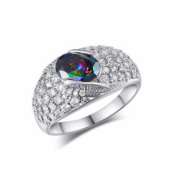 ELEGANT OVAL CUT RAINBOW PURPLE CZ FULL CRYSTAL DESIGN RING FASHION WEDDING JEWELRY WHITE GOLD FILLED ENGAGEMENT PROMISE RINGS