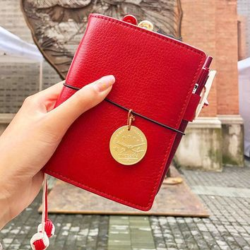100% High-end Genuine Leather Traveler's Notebook, Perfect for Diary Journal, Gifts, Sketchbook, planners, travel. Vintage style
