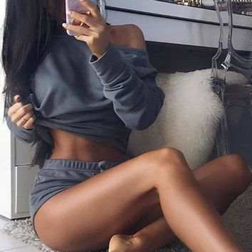 Women Two-Piece Sports Romper Crop Top Shorts Jumpsuit Summer Clothes Outfits