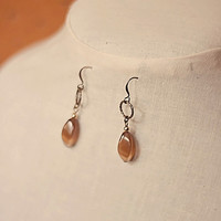Handmade Brown Cats Eye Twist Oval Dangle Earrings with Antiqued Gold