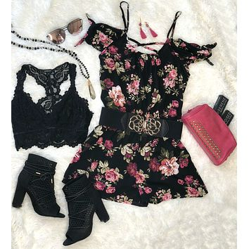 Sweetest Touch Black Floral Romper