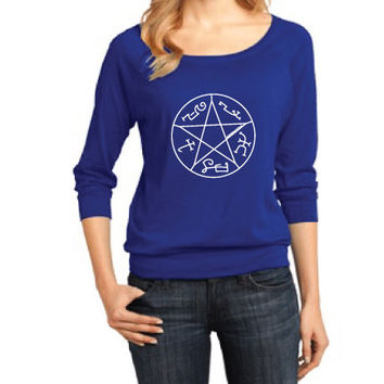 Supernatural Inspired Clothing - Devil's Trap Symbol Raglan 3/4 Length Sleeve - Ladies