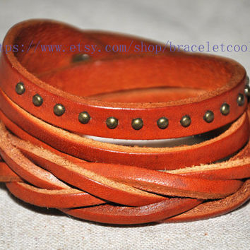 Real Soft Orange Leather Women Leather Jewelry Bangle Cuff Bracelet Men Leather Bracelet, Cuff Bangle CP60