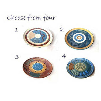 Pottery wheel thrown handmade decorative farmhouse chic blue medium trinket plates