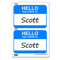 Scott Hello My Name Is - Sheet of 2 Stickers