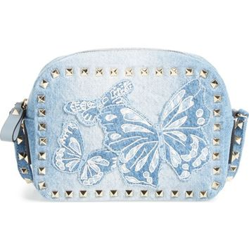 Valentino Rockstud Camera Denim Crossbody Bag | Nordstrom