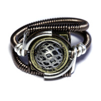Steampunk Jewelry - Ring - Silver and Antique Brass tone (Custom size available - see description)
